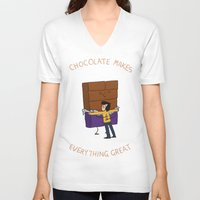 chocolate V-neck T-shirts featuring Chocolate! by Wackom