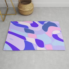 Blue and Pink Abstract Rug