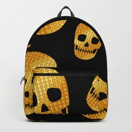 Golden skull-Black Backpack