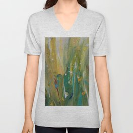 Fluid Nature - Windswept Cornfield - Abstract Acrylic Art Unisex V-Neck