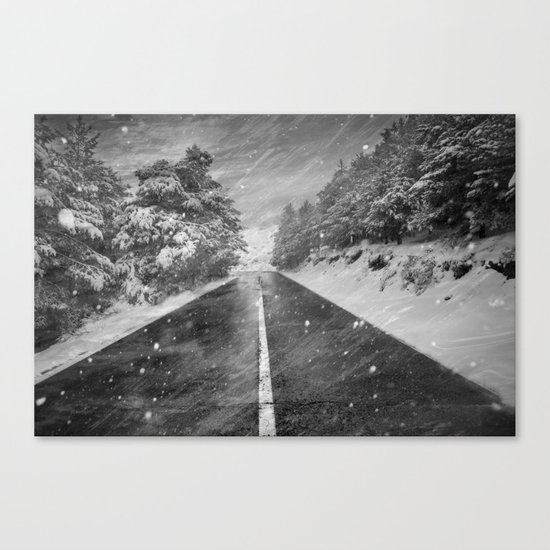 """""""Snowstorm in the road"""" At the mountains Canvas Print"""