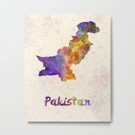 Pakistan in watercolor Metal Print