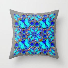 Abstract Decorative Aqua Blue Butterflies On Charcoal Grey Art Throw Pillow