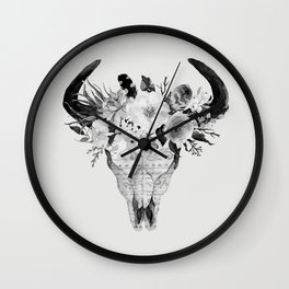 Monochrome Floral bohemian black and white watercolor animal stag head skull boho home wall decor Wall Clock