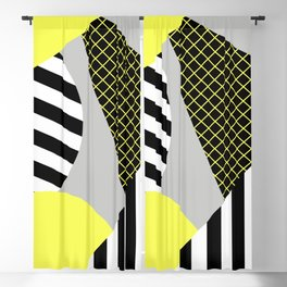 Eclectic Geometric - Yellow, Black And White Blackout Curtain