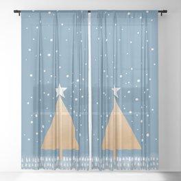 Abstract Pattern 2 Xmas tree winter snow Sheer Curtain