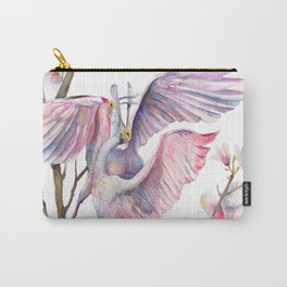 Two spoonbills on a Magnolia tree, Roseate Spoonbill, Magnolia Carry-All Pouch