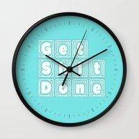 get shit done Wall Clocks featuring Get Shit Done. (Blue) by Liesl Marelli