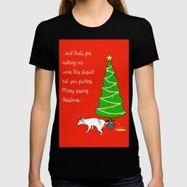 Naughty Dog Christmas Greeting T-shirt
