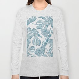 Gorgeous Blue Tropical Leaves + Flowers Long Sleeve T-shirt