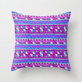 Latin American Pattern Pink Purple Blue. Funky Art. Colourful Pattern Throw Pillow