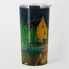 Rozenhoedkaai and canals in Brugge, Belgium Travel Mug
