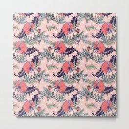 Pink bloom of poppies Metal Print