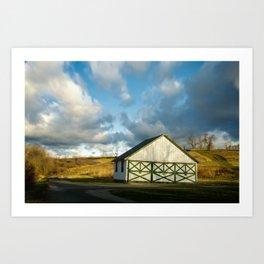 Aging Barn in the Morning Sun Rural Landscape Photograph Art Print