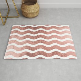 Chic stylish faux rose gold modern wave stripes Rug