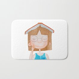 Smiling little cute girl with eyeglasses, and red book on her head. Watercolor illustration. Bath Mat