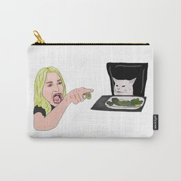 Woman And Cat Carry-All Pouch