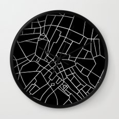 London Road Blocks Black Wall Clock