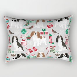 Cavalier King Charles Spaniel christmas pattern gift for dog lover pet friendly pet portrait Rectangular Pillow