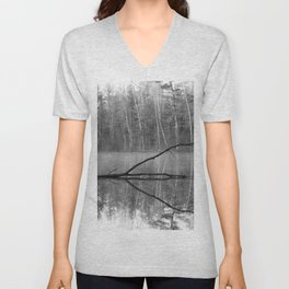 Black and White Reflections over Bluegill Bond Unisex V-Neck
