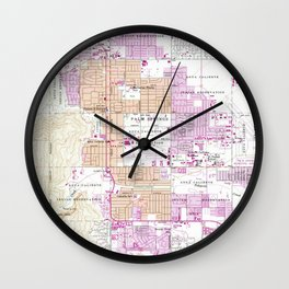 Vintage Map of Palm Springs California (1957) Wall Clock