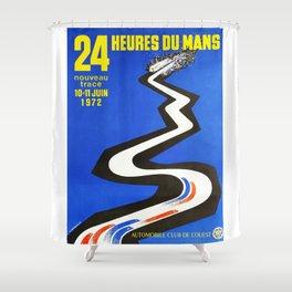 1972 Le Mans poster, car poster, race poster, t-shirt Shower Curtain
