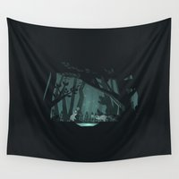 fireflies Wall Tapestries featuring Chasing fireflies by scarriebarrie