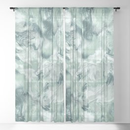 Marble Mist Green Grey Sheer Curtain
