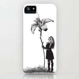 Beautiful young Woman and giant flower iPhone Case