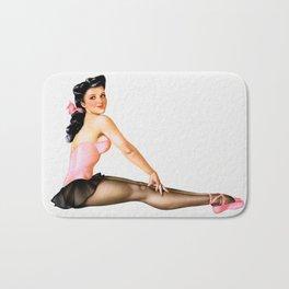 Vintage Ballerina Pin Up Girl Bath Mat