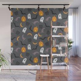 Trendy orange white gray black halloween ghost pattern Wall Mural