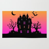 haunted mansion Area & Throw Rugs featuring Haunted Silhouette Rainbow Mansion by rainbowdreams