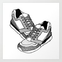sneakers Art Prints featuring Sneakers by Addison Karl