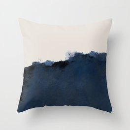 Abstract, blue, beige, indigo Throw Pillow