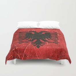 Vintage Aged and Scratched Albanian Flag Duvet Cover