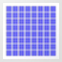 Bright Neon Blue and White Tartan Plaid Check Art Print