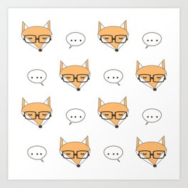 cute cartoon fox face with eyeglasses Art Print