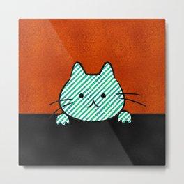 Cute Teal Striped Cat Metal Print