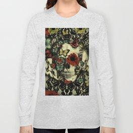Vintage Gothic Lace Skull Long Sleeve T-shirt