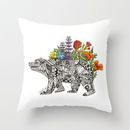 Grizzly Flora Throw Pillow