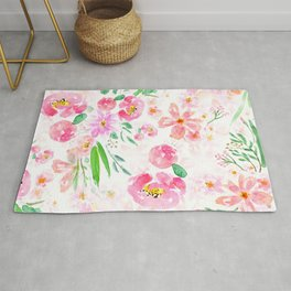 pink flowers and green leaf pattern  Rug