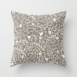 Scattered Flowers - White on Brown Throw Pillow