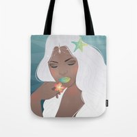 siren Tote Bags featuring Siren by viviennart