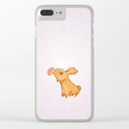 Bunny smelling a flower Clear iPhone Case