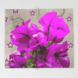 Petunias/Stars Throw Blanket