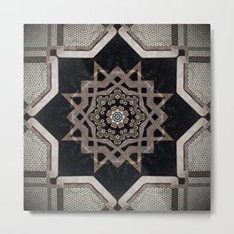 Modern Decorative Pattern Star Mandala Metal Print