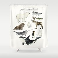 animals Shower Curtains featuring Arctic & Antarctic Animals by Amy Hamilton