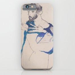 Egon Schiele Gustav Klimt Im Blauen Malerkittel iPhone Case
