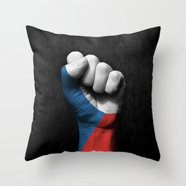 Czech Flag on a Raised Clenched Fist Throw Pillow