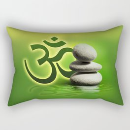 OM symbol  with zen stones on gentle green Rectangular Pillow